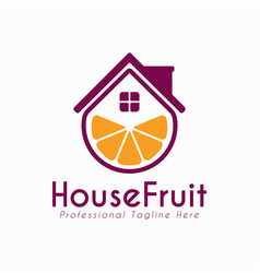 house fruit design logo template support icon vector image