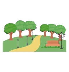 Isolated bench trees and lamp of park design vector