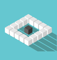 Isometric lonely cube concept vector