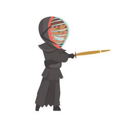 Kendo fighter man with shinai cartoon vector