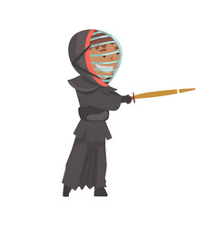 kendo fighter man with shinai cartoon vector image