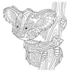 Koala bear adult coloring page vector