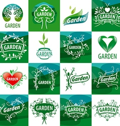 large set of logos for the garden vector image