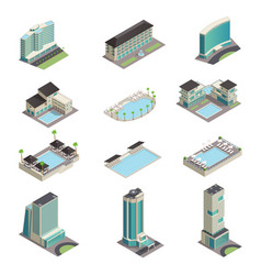 luxury hotel buildings isometric icons vector image