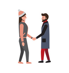 Man and woman shaking hands during talk at winter vector