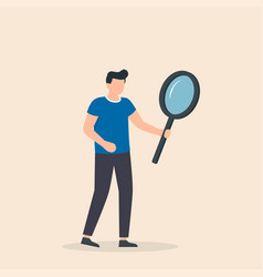 Man with big magnifying glass searching for vector