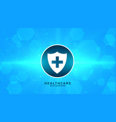medical safety badge with blue hexagonal vector image