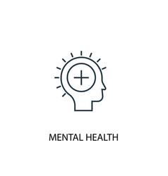 mental health concept line icon simple element vector image
