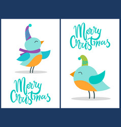 Merry christmas greeting cards tiny birds posters vector