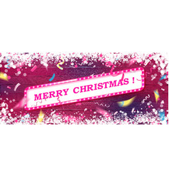 merry christmas hand drawn pink text font vector image