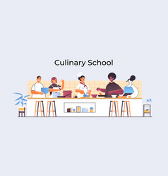 mix race chefs preparing dishes people cooking vector image