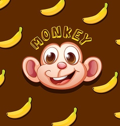 Monkey face and bananas vector image