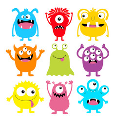 Monster colorful round silhouette icon set eyes vector