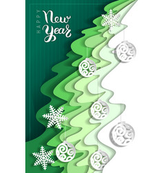 new year greeting card from layers paper vector image