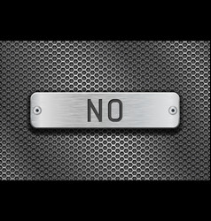 No metal button plate on metal perforated vector