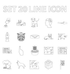 Pet outline icons in set collection for design vector