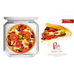 Pizza box composition vector