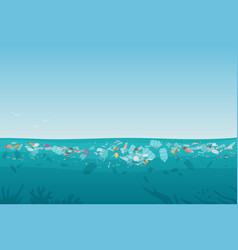 plastic pollution trash on sea surface with vector image