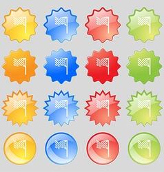 Racing flag icon sign big set of 16 colorful vector