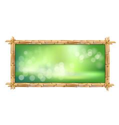 Rectangle green bamboo sticks border frame with vector