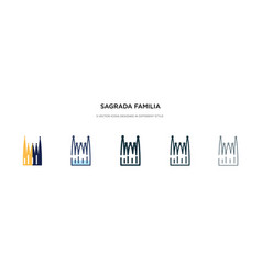 Sagrada familia building icon in different style vector