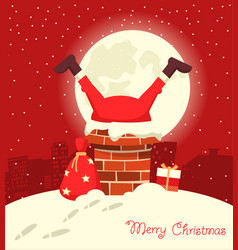 santa claus stuck in chimney in christmas vector image