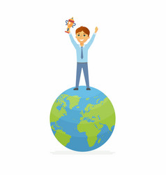 School contest winner - happy boy on the globe vector