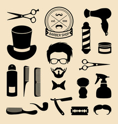 set barbershop icons with hipster face vector image
