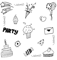 Set birthday doodle on white backgrounds vector image
