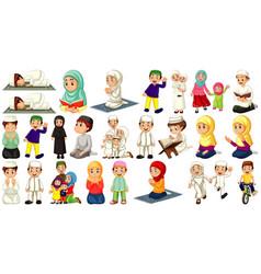 set different muslim people cartoon character vector image