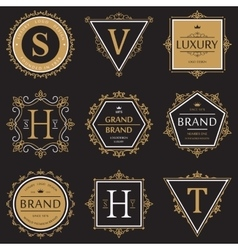 Set ornate brand or product banner and logo vector