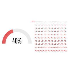 Set semicircle percentage diagrams vector