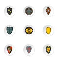 Shield icons set flat style vector