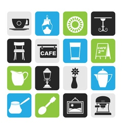 Silhouette coffe and coffeehouse icons vector