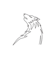 single continuous line drawing mysterious wolf vector image
