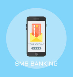 Sms banking flat design style vector