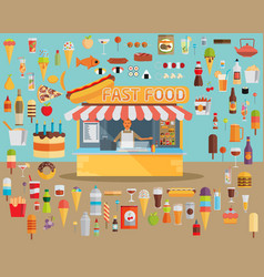 Stall sells fast food flat vector