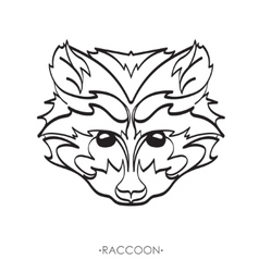 stylized Raccoon Sketch for tattoo vector image