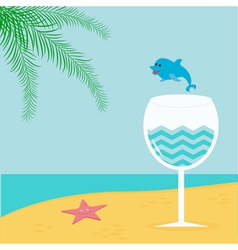 Summer beach background with palm star cocktail vector