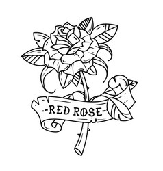 tattoo rose with ribbon passion love vector image