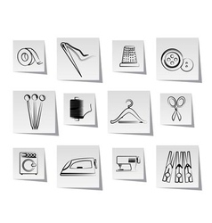 Textile objects and industry icons vector