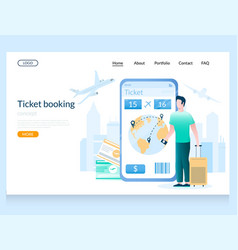 ticket booking website landing page design vector image
