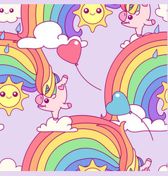 Unicorn seamless pattern vector