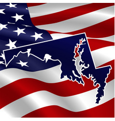 united states maryland dark blue silhouette vector image