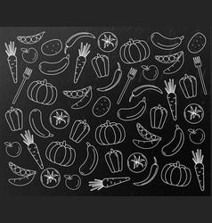 Vegetables pattern line art pumpkin vector