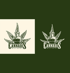 vintage monochrome marijuana logotype vector image