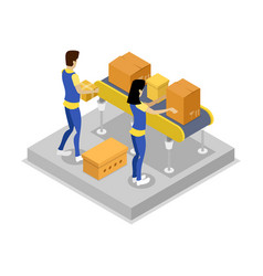Warehouse with conveyor isometric 3d icon vector
