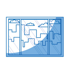 Window view interior building city clouds vector