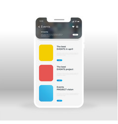 yellow red and blue events ui ux gui screen for vector image