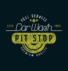 car wash and pit stop emblem vector image